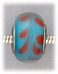 Add A Bead Silver blue with pink swirls glass