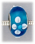 Add A Bead Silver blue with white flowers glass