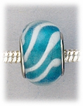 Add A Bead Silver light blue with white stripes glass