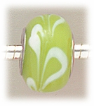 add-a-bead silver lime glass with white swirls
