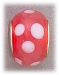 add-a-bead silver pink glass with white dots