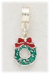 add-a-bead silver red and green wreath charm
