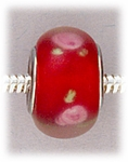 Add A Bead Silver red with small pink flowers glass