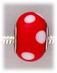Add A Bead Silver red with white dots glass