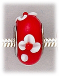 Add A Bead Silver red with white flowers glass