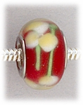 Add A Bead Silver red with yellow flowers glass