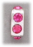 add-a-bead silver square with pink crystals