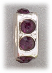 add-a-bead silver square with purple crystals