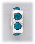 add-a-bead silver square with teal crystal