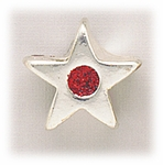add-a-bead silver star with red crystal center