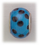 add-a-bead silver turquoise glass with black dots