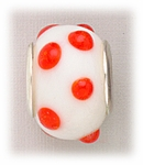 add-a-bead silver white glass orange dots