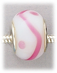 add-a-bead silver white glass with pink dots and swirl