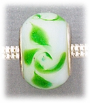 add-a-bead silver white green swirls