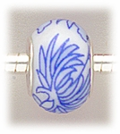 add-a-bead silver white porcelain bead blue flower