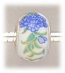 add-a-bead silver white porcelain bead blue flower green