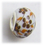 add-a-bead silver white porcelain bead brown flower