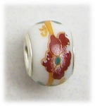 add-a-bead silver white porcelain bead dark red flower