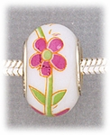 add-a-bead silver white porcelain bead fuchsia flower