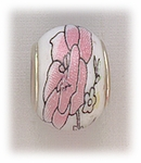add-a-bead silver white porcelain bead pink flower