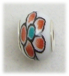 add-a-bead silver white porcelain bead red blue flower