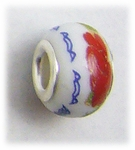add-a-bead silver white porcelain bead red flower