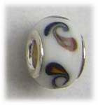 add-a-bead silver white small brown swirls