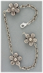 anklet antiqued silver flower beads and chain