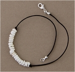 Anklet brown leather cord with puka shells silver lobster claw