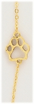 Anklet Gold 9 1/2 inch antiqued gold paw print and chain