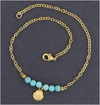 Anklet gold and turquoise magnesite beads & gold shell drop