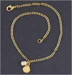 Anklet gold chain gold shell and pearl drop