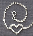 Anklet Silver Crystal Heart