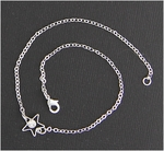 Anklet silver with star and crystal accent lobster claw