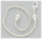 bracelet add-a-bead silver snake chain for sliding stop beads screw off ends