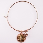 bracelet copper round charm with gold tree