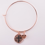 bracelet copper round charm with silver cross