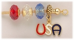 Bracelet gold removable end red white and blue crystal beads and USA charm