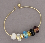 Bracelet Gold Threaded End BANGLE and 11 Beads