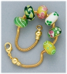 Bracelet Set gold add a bead screw end bracelet with six assorted green glass beads