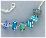 Bracelet Set Silver Add A Bead Screw End Six Assorted Blue Beads