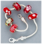 Bracelet Set silver add a bead screw end bracelet with six assorted red glass beads