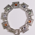 Bracelet Sliver Squares with Red Blue and Green Stones Magnetic Clasp