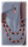 Brown and coral beads set