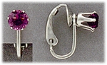 Clip On Earrings Silver with birthstones