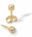 complete home personal ear piercing Kit Gold pearl bezel