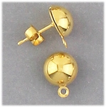 Components 1 pair gold 8mm posted half ball with loop