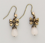 Earring Antique Gold Hook Crystal Antique Bow Peach Teardrop