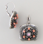 Earring antique silver euro clasp square pink crystals and pink pearls