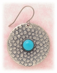 Earring antiqued silver disk on French hook with turquoise center